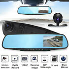 4'' inch 1080P HD Dual Lens DVR Mirror Dash Cam Recorder Kit W/ Rear View Camera