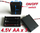 2x 3-AA Slots Battery Spring Clip 4.5V Holder Case Plastic Storage Box + Wires
