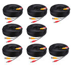 8 Pcs -XU 30M Security Camera Cable CCTV Video Power Wire BNC RCA Black Cord DVR