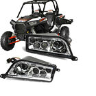 FOR 14-16 POLARIS RZR 1000 LED HEADLIGHT Replacement lamps + Plug Harnesses