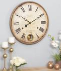Antique Pendulum Wall Clock Roman Numeral Large Vintage Metal Frame Home Decor