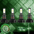 4Pcs Combo H7 + H7 COB LED Headlight Bulbs Kit High Low Beam 400W Total 6000K