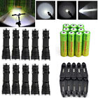 10 X Ultrafire Tactical 20000LM T6 LED Zoom Flashlight +18650 Battery&Charger US