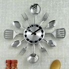 Bits and Pieces - Contemporary Kitchen Utensil Clock-Silver-Toned Forks, Spoons,