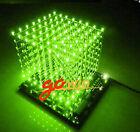 3D LightSquared DIY Kit 8x8x8 3mm LED Cube Green Ray LED NEW