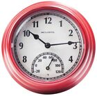 Red Thermometer with Clock Indoor Outdoor Temperature Plastic Weather Resistant