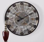 "NEW 24"" RUSTIC AGED FINISH ROUND WALL CLOCK LARGE ROMAN NUMBERS VINTAGE DESIGN"