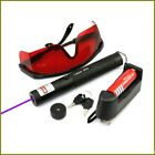BPH4-F5 405nm Purple Laser Pointer Lazer Pen Beam+battery+Charger+Goggle+5star