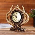Antique Resin Antler Alarm Clock Battery Clock Home Bar Shop Rustic Decor