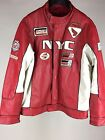 Pelle Moda NYC Leather Jacket XL All Borough Cafe Racer Red White  Motorcyle
