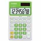 Casio 8 Digit Solar Plus Battery Green Calculator Auto Off for Pocket or Purse