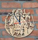 Home Silent Clocks Decorative Wooden Engraved Wall Indoor Gift Rustic Country