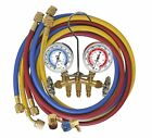 Mastercool R134a CHARGING AND TESTING BRASS MANIFOLD GAUGE SET W 3 HOSES 66661