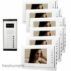 """Apartment 6 Units 7"""" Wired Video Door Phone Intercom System 1V6 with HD Camera"""