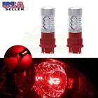 US Fast Ship Red 3157 3057 Cree LED Reverse Backup Light Bulbs 6000LM 100W 2pcs