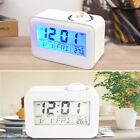 Smart Digital Voice Control Backlight LCD Alarm Clock Projector Thermometer #ur