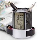 Digital Calendar Alarm Clock Multi function Holder Metal Organizer Storage Round