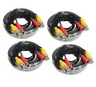 4x 50ft 4K All-in-One BNC Video Power Cables Extension Cord for CCTV Camera DVR