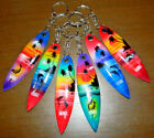 Hawaiian Natural Wood Island Dolphin Painted Surfboard Keychain NEW