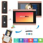 7inch 2 Monitors Wired Wifi Video Door Phone Doorbell Intercom Remote APP unlock