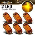 """6X 2.5"""" Side Marker Light Clearance Amber Oval Led Lamp 2 Diode Trailer Truck"""