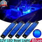 4pcs Marine Grade 12 volt Large Waterproof Cool Blue LED Courtesy Lights