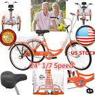 """24"""" Adult Orange Tricycle 3-Wheel 1/7 Speed Bicycle Bike Trike w/ Basket Outdoor"""