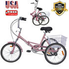 """Portable Fold 7Speed Tricycle 20"""" Cruise Bike Pink Bicycle Foldable w/Basket USA"""