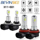 4x For Arctic Cat Bearcat Z1 2009-2014 Combo H11 881 LED Headlight High Low Bulb
