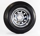 Radial Trailer Tire On Rim ST205/75R15 LRC 5 Lug Chrome Modular Wheel w/Rivets