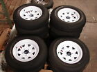"4- 15"" 5 Lug Utility Boat Trailer Wheels 5x4.5 White Spoke w/ Tires  205B"