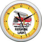 Personalized Fire Truck Boy Nursery Wall Clock Wall Art  Decor Gift