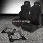 2X TYPE-R BLACK CANVAS BUCKET RACING SEAT+SLIDER+BRACKET FOR 92-99 BMW E36 2-DR