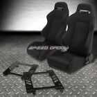 2X TYPE-R BLACK CANVAS BUCKET RACING SEAT+SLIDER+BRACKET FOR 93-02 CAMARO Z28