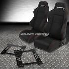 2X TYPE-R BLACK CANVAS BUCKET RACING SEAT+SLIDER+BRACKET FOR 93-98 GOLF/GTI MK3
