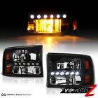 1999-2004 Ford F250 F350 F450 SuperDuty SD Black LED SMD D.R.L Bumper Headlights