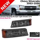 Chevy Silverado 03-06 Chrome Housing Smoke Lens Amber Bumper Signal Lights Lamp