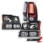 Black Headlight Parking Signal Bumper Brake LED Tail Lights 05 06 Silverado 1500