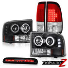 99-04 Ford F350 Halo DRL Projector Headlights Brake Tail Lights LED Tinted 3rd