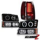 03-06 Silverado 2500HD CCFL Ring Headlight DRL Black Signal Cherry Red Tail Lamp