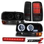 2000-2006 GMC Yukon XL CCFL Halo Headlight Black LED Tail Lights Red Third Brake