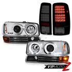 Chrome LED Angel Eye Headlights 2000-2006 Yukon Bumper Signal Lamps Tail Lights