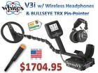 Whites V3i Metal Detector w/ Wireless Headphones & TRX Pinpointer Ships FREE