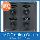 4-GANG TOGGLE WATERPROOF SWITCH PANEL with 15A Blade Fuses - Marine/Boat/Caravan
