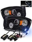 Fit 06-08 Dodge Ram LED Halo Projector Headlights Black w/ 8000K HID