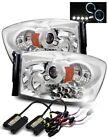 Fit 06-08 Dodge Ram LED Halo Projector Headlights Chrome w/ 6000K HID