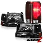 92-96 Ford Bronco Matte Black Headlamps Burgundy Red Tail Brake Lights Assembly