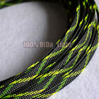 4~12mm Black_Yellow_Green Braided PET Expandable Sleeving Cable Wire Sheath lot