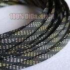 4~16mm Black_Gold_Silver Braided PET Expandable Sleeving Cable Wire Sheath lot