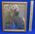 Cat Clock Light Oak Frame Silver Gold Etching Jade Enterprises Hanging 1980's